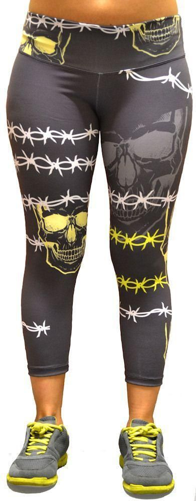 Barbwire Grey Skull Capri for Crossfit Workouts | Crossfit Apparel for Women. Look great and Feel Good while Crossfitting. A Wide Range of Crossfit Tank Tops| Singlets| Shorts| Sports Bra @ www.FitnessGirlApparel.com