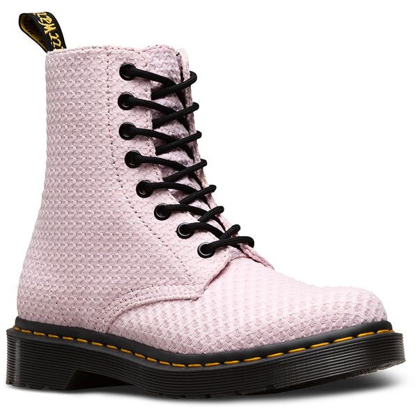 Dr. Martens Page Wc Boots ($120) ❤ liked on Polyvore featuring shoes, boots, bubblegum, dr martens footwear, dr martens boots, dr. martens and dr martens shoes