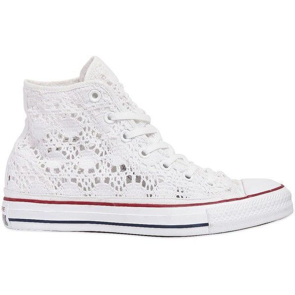 Converse Women Chuck Taylor Crocheted Cotton Sneakers (€125) ❤ liked on Polyvore featuring shoes, sneakers, converse, white, converse footwear, crochet sneakers, converse sneakers, crochet shoes and white cotton shoes