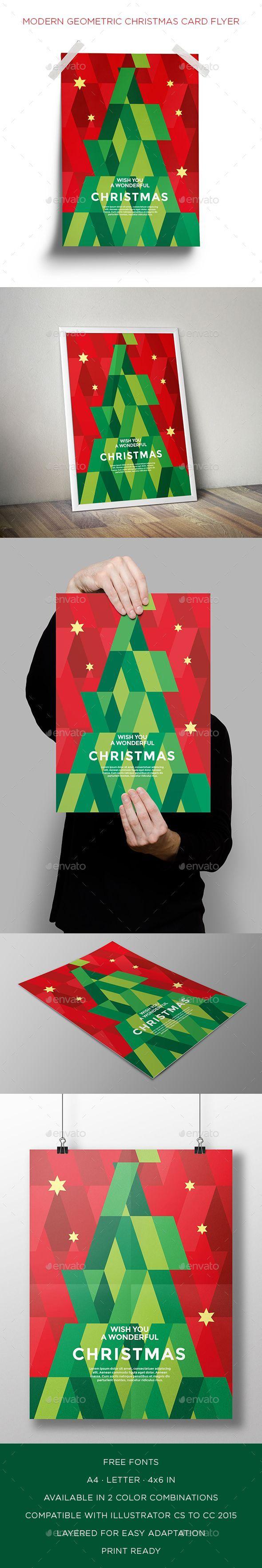 free ecard christmas party invitations%0A Modern Geometric Christmas Card Flyer