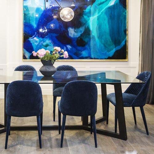 The GlobeWest Lucille Navy Velvet Dining Chairs And Geo Dining Table Were A  Smash Hit On