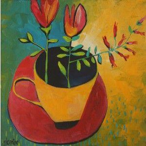 CUP OF FLOWERS, GLENDINE, ALICE ART GALLERY