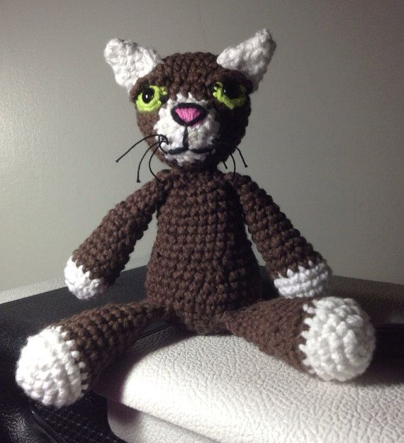 Brown cat crochet doll, OOAK plush, amigurumi animal, wool stuffed, scented, cotton, soft rag doll