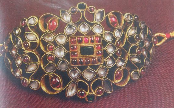 Kundan meena gold polki bangle bracelet upper arm by TRIBALEXPORT, $6999.00
