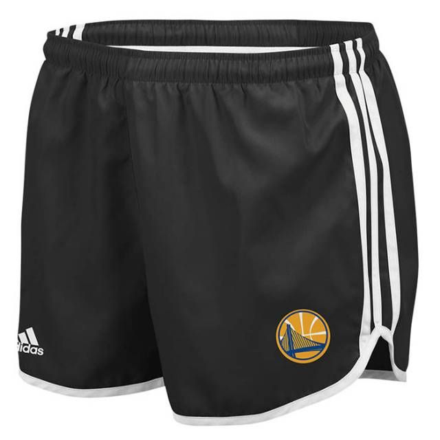 Golden State Warriors Womens 3 Stripe Adidas Shorts - Black - Golden State Warriors