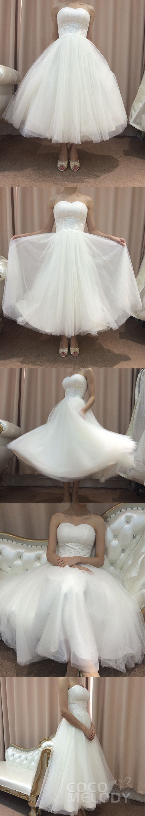 Lovely and Stunning Ankle Sleeveless Wedding Dress. #CWZA13001 #weddingdresses #customdresses #cocomelody