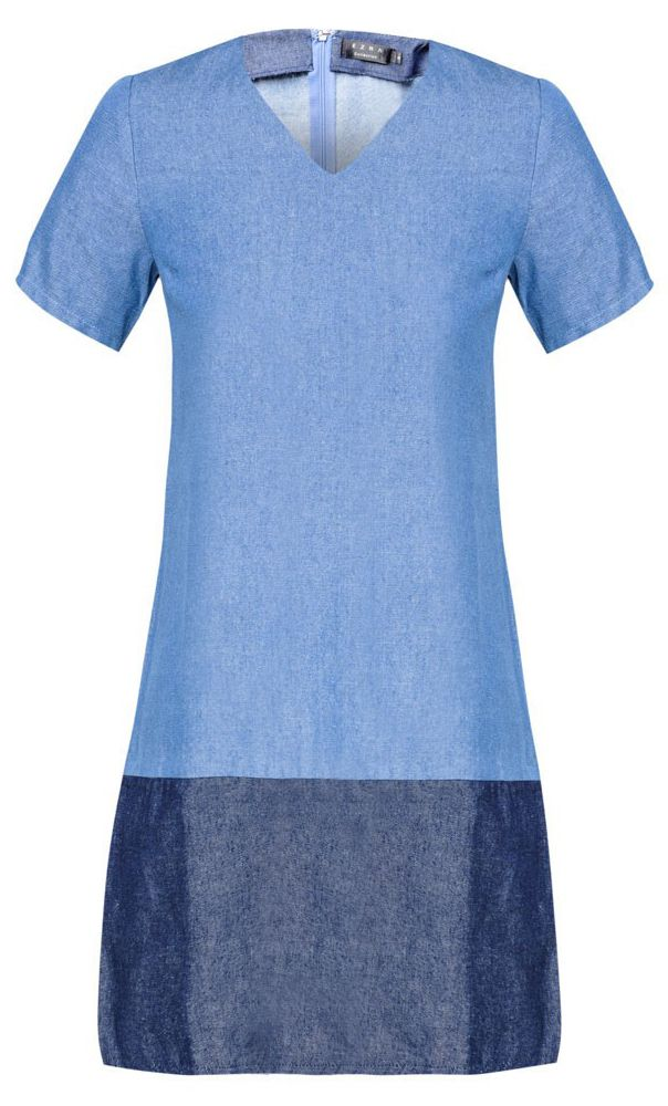 Structured Shift Dress by Ezra. Made with cotton blend, two tone light blue and navy blue, with v neck detail, short sleeve, zipper on the back, regular fit. Pair this blue dress with a heels.  http://zocko.it/LDcHy