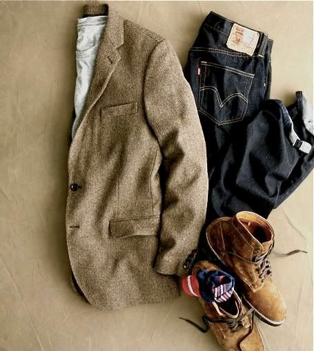 Tom boy.Men Clothing, Night Outfit, Men Style, Casual, Jackets, Men Fashion, Tweed, Dark Denim, Boots