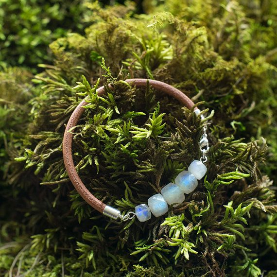 Moonstone leather bracelet  bangle natural stone by MyROCKandSOUL