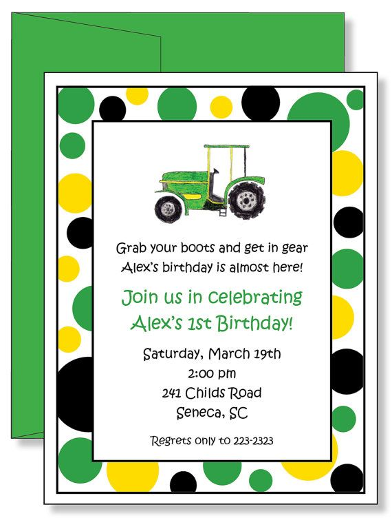 12 Custom Personalized Farm Tractor Birthday by laurieattheden, $11.00