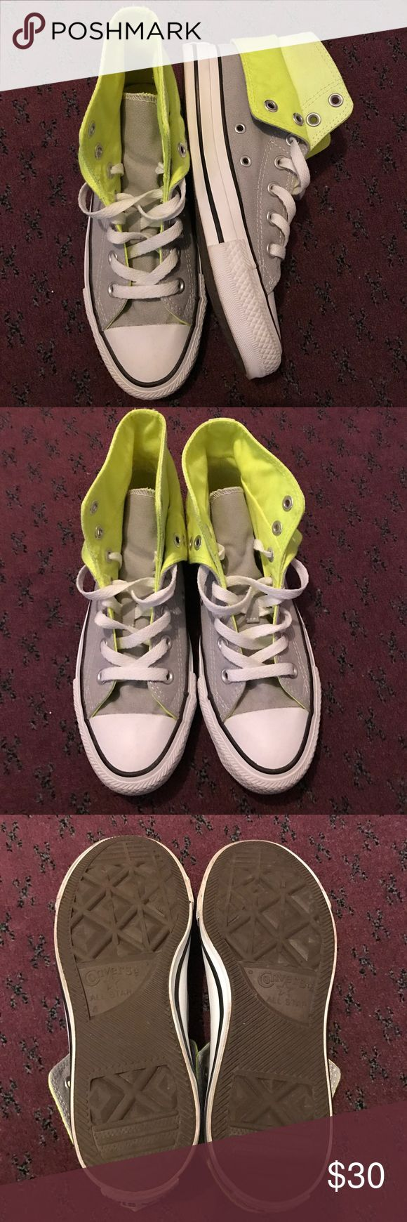 Grey Neon Converse High Tops 4 Worn but great condition!! Super cute and hard to find! Some wear and dirty look around the white edges (Please see pics!) Size 4. Ask me any questions!!! 💕 Converse Shoes Sneakers