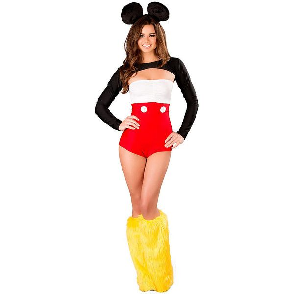 Nicky Mouse Romper Sexy Adult Costume (923.305 IDR) ❤ liked on Polyvore featuring costumes, costume, halloween costumes, multicolor, sexy mouse costume, mickey mouse halloween costume, white shrug, white halloween costumes and white costumes