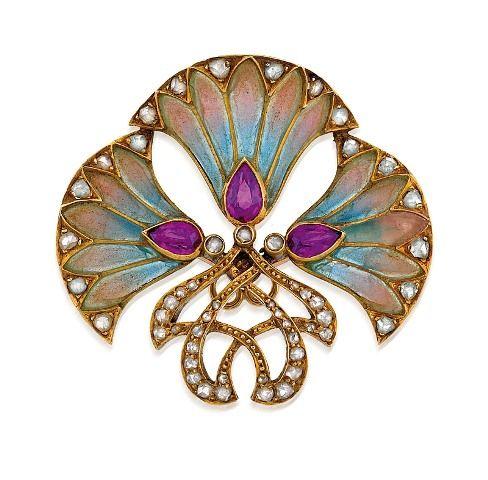 RUBY, DIAMOND AND ENAMEL BROOCH, CIRCA 1895. Lotus Flower