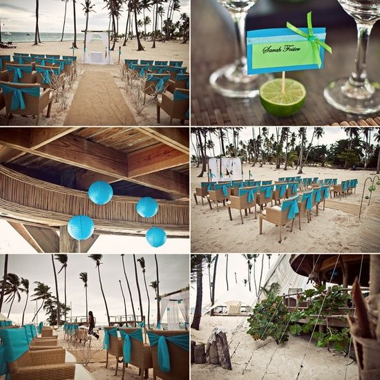 Jellyfish wedding decor. Turquoise & lime green.