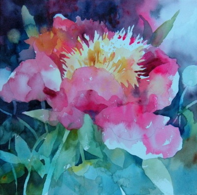 Watercolors: Negative Peony spaces
