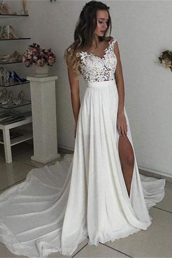 Custom Made Colorful Simple Wedding Dresses, Ivory Wedding Dresses, Wedding Dresses For Cheap, Wedding Dresses Chiffon