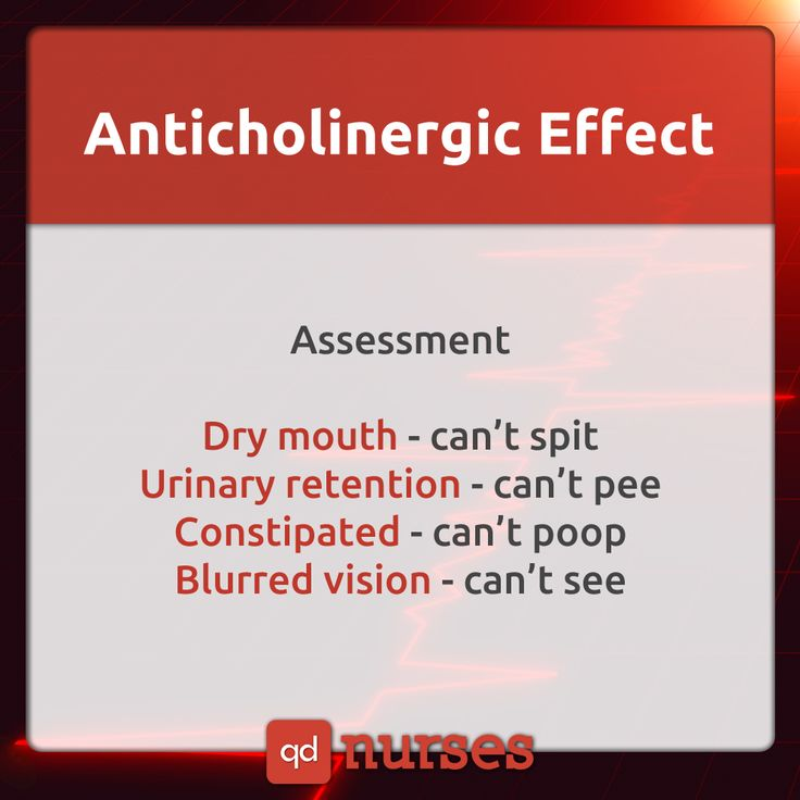 You must REMEMBER the drugs that can cause an anticholinergic effect.