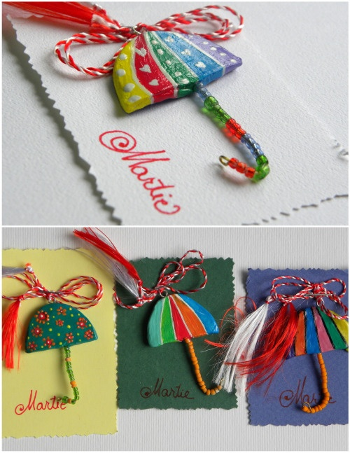 umbrelute - martisor - little umbrellas - Romanian spring charm