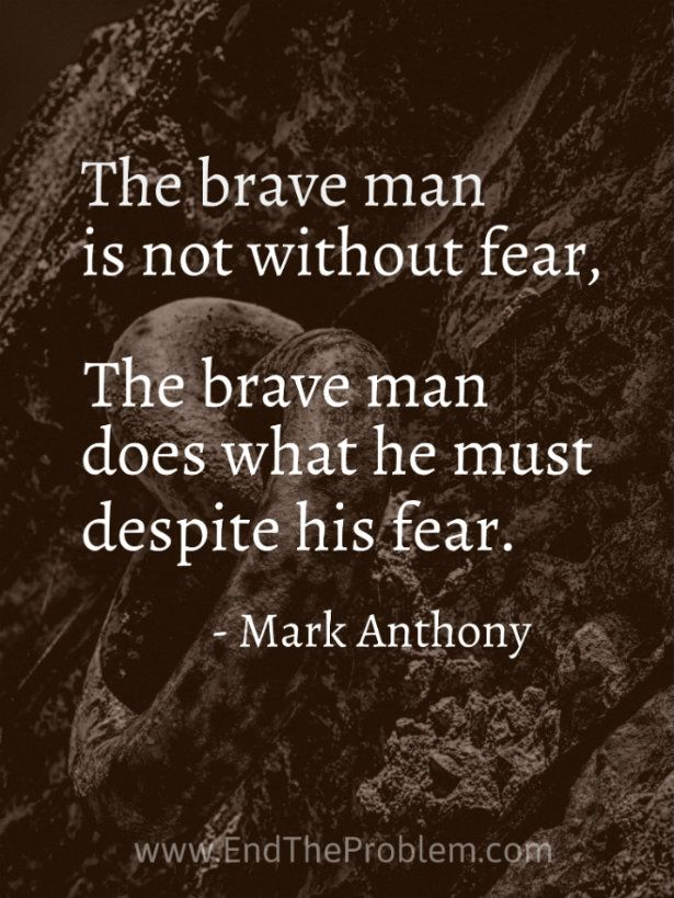 The brave man is not without fear. The brave man does what he must despite his fear. Mark Anthony