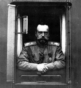 Tsar Nicholas II in the abdication photo taken with him framed by a train windown of the Imperial Train at Russian World War I headquarters at Mogilev.  A sad photo, Nicholas looks tired and worn with his former handsome face just a memory.  Within 18 months, he and his family would be dead.