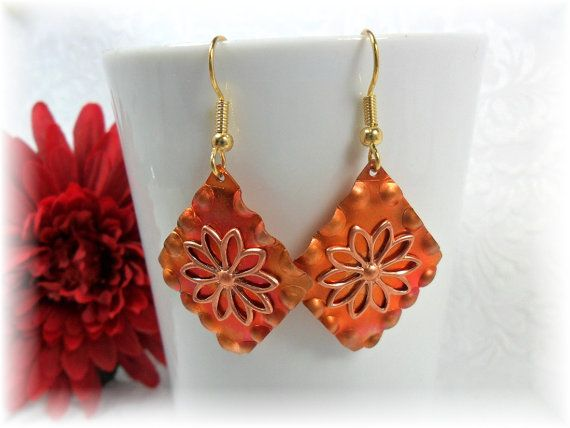 Copper Earrings With Fire Patina by ChicArtistique on Etsy, $10.59: Fire Patinas, Copper Earrings, Unique Women