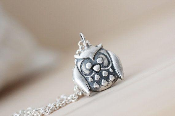 Silver Owl Pendant Precious Metal Clay Owl by littlecherryhill