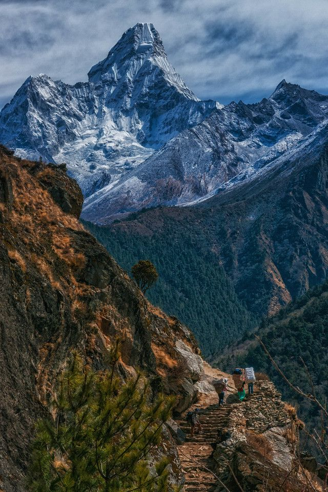 33 Incredible Images that will Transport You to Everest Base Camp in Nepal - - Ama Dablam looms in the distance during this Amazing Trek   The Planet D: Adventure Travel Blog