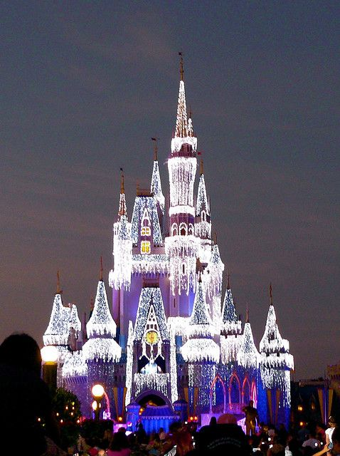 Christmas Lights on Cinderella's Castle at Walt Disney World-this was my favorite! looks like its covered in diamonds:)