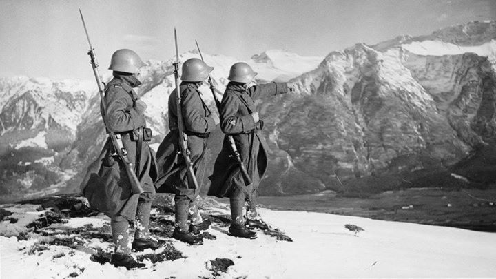 Swiss border patrol in the Alps during World War II.