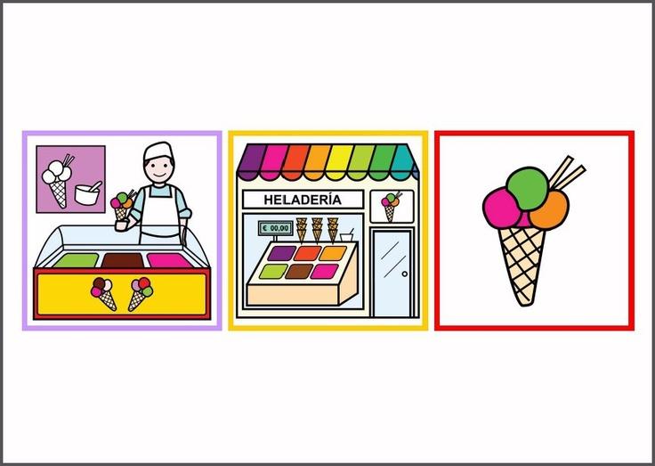 FICHAS - Asociación Tienda/Vendedor/Producto.    Láminas de asociación de diferentes tiendas del entorno con el vendedor correspondiente y uno de los elementos que la caracterizan. Las imágenes pueden recortarse y ser utilizadas como una baraja semántica. También pueden ampliarse con nuevos pictogramas, respetando el tamaño original.    http://arasaac.org/materiales.php?id_material=4