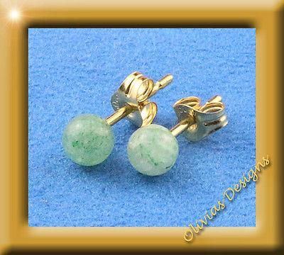 Massiv 18 Kt Gold 750 Ohrstecker mit 4mm Aventurin  #silver #schmuck #fashion #ohrstecker #olivias #saphir #amber #bracelets #emerald #jewellery