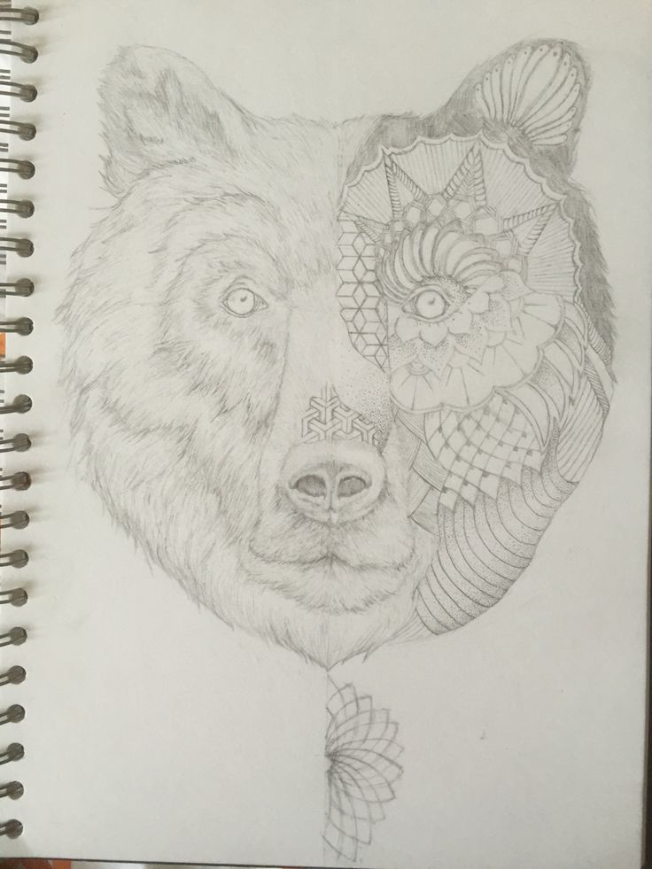 Half geometric, half realism bear. A4 pencil drawing