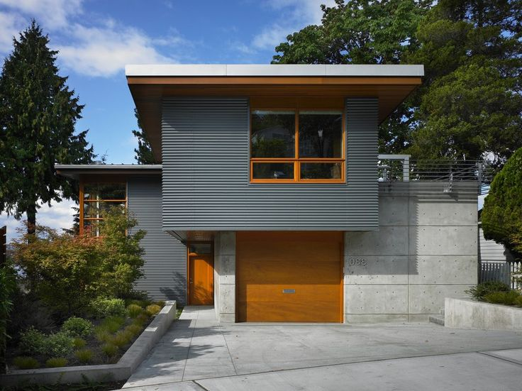Corrugated metal siding exterior contemporary with ... on Modern House Siding Ideas  id=39077