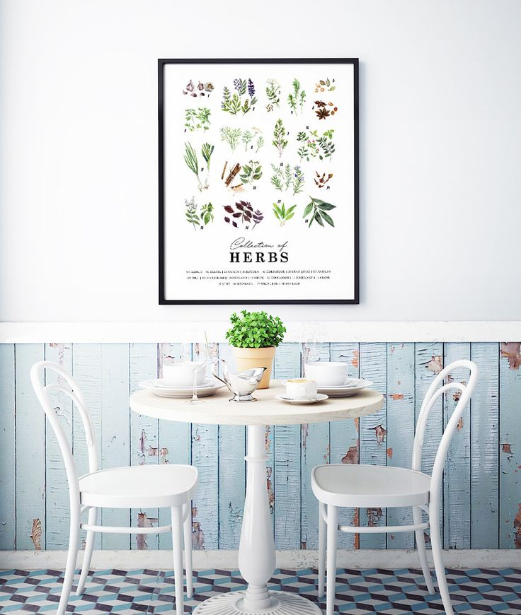 $12 --- Collection of Herbs. High Quality Hand Painted Watercolor Art. Perfect to Decorate Your Kitchen / Dining Room / Boutique Coffee Shop.