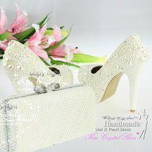 Zapatos de la boda zapatos para novia con plata a juego bolso de embrague(China (Mainland))