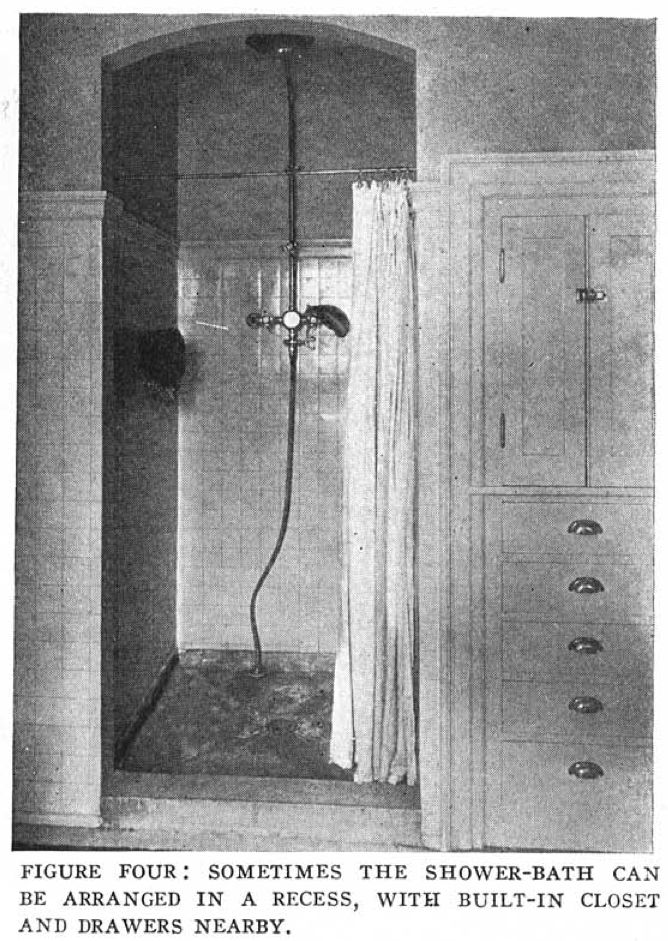 Nice built-in shower from Craftsman Magazine, April 1915.  This was in my LA apartment from 1924. A skylight in the top would have been fab.
