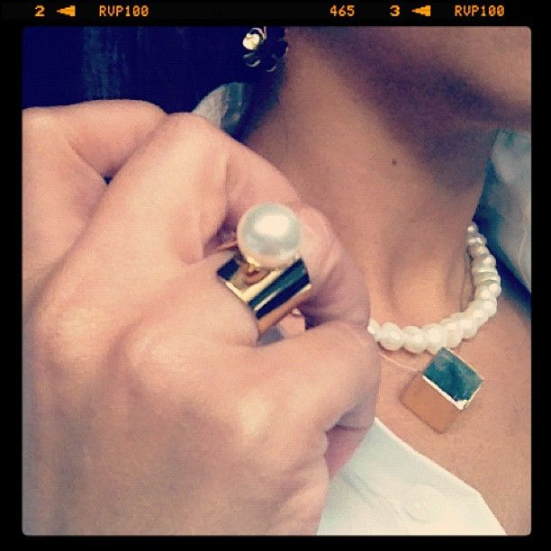 Pearl ring and cube pendant