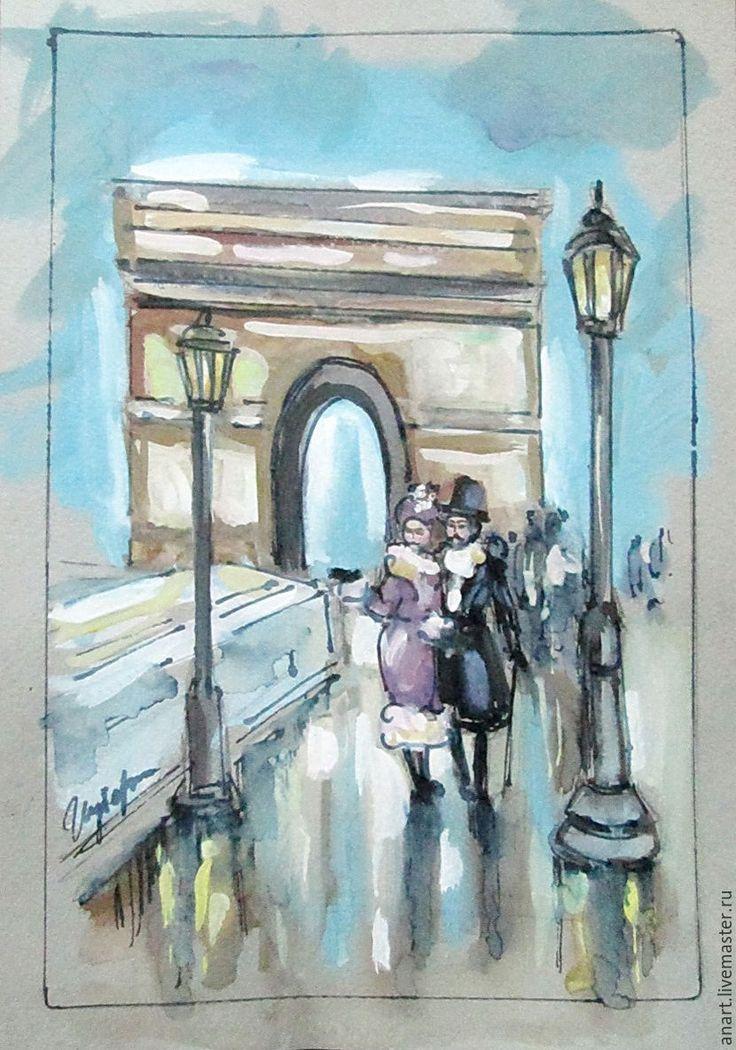 """Купить Графика """"Париж - город для двоих"""" формат А4 - серый, Париж, Франция, 19 век"""