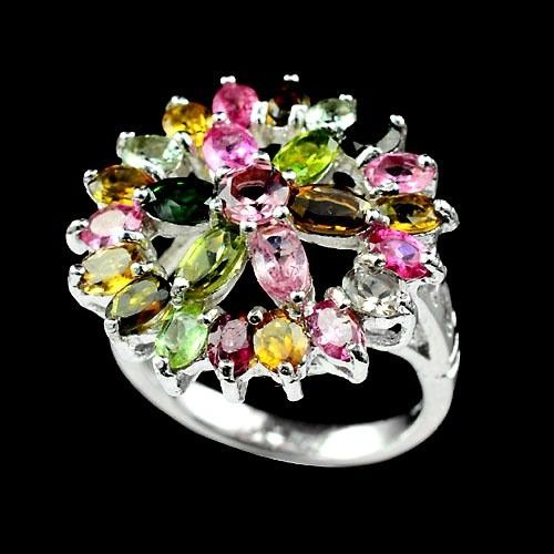Best Deal Today Natural Multi Color Tourmaline 925 Sterling Silver Fine Ring R1 #Handmade #Ring #Anniversary