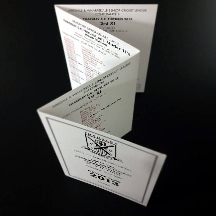 Thackley Crickey Club Fixture List Printed Black To Both Sides of 300gsm Uncoated Board, Crease And Folded #weloveprint #printitlocal