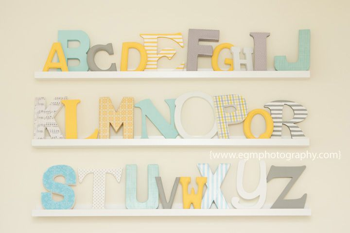 Alphabet nursery, ABC nursery, DIY alphabet - click for more of the room on the blog.