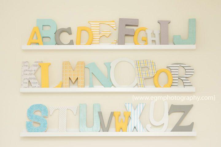 Alphabet nursery, ABC nursery, DIY alphabet - click for more of the room on the blog.