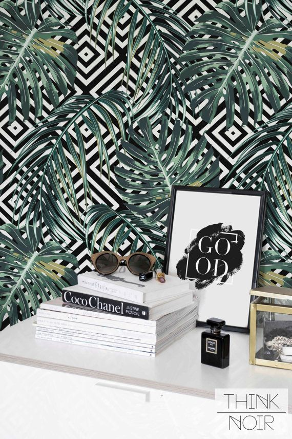 20 % OFF Palm Leaf Wallpaper / Self Adhesive Tropical Palm Wallpaper / Leaves Pattern Wall Mural / Monstera Leaf Wall sticker