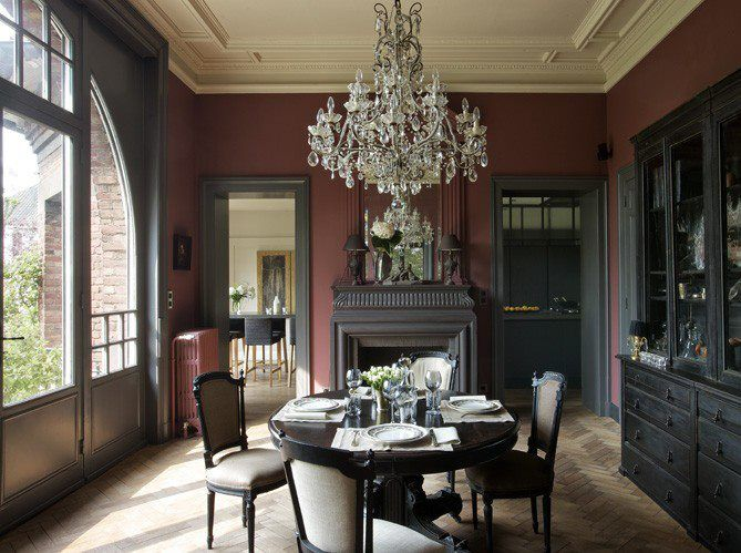 French Dining Room Decor Part - 48: Dining Room Decorating Ideas-look At The Wall And Molding Colours! The  Elegant Chandelier Hangs Over An Oval Table And Formal French Style Chairs.