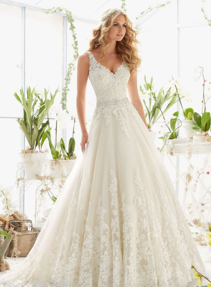Stunning wedding dress! See more here: http://www.dressilyme.com/p-graceful-tulle-v-neck-neckline-a-line-wedding-dresses-with-beaded-lace-appliques-61345.html