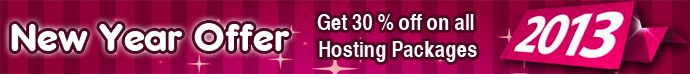 "New Year Special Offer #1 - 30% Discount on Web Hosting and Get one Domain FREE     Use ""HR5COUPON"" Coupon code to Avail the Discount and save 30% Of Your Money!!    For more contact our Support people at: support@hostingraja.in    Visit: http://www.hostingraja.in/"