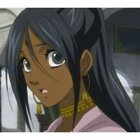 the anime character mina is a adult with to waist length black hair and gray eyes