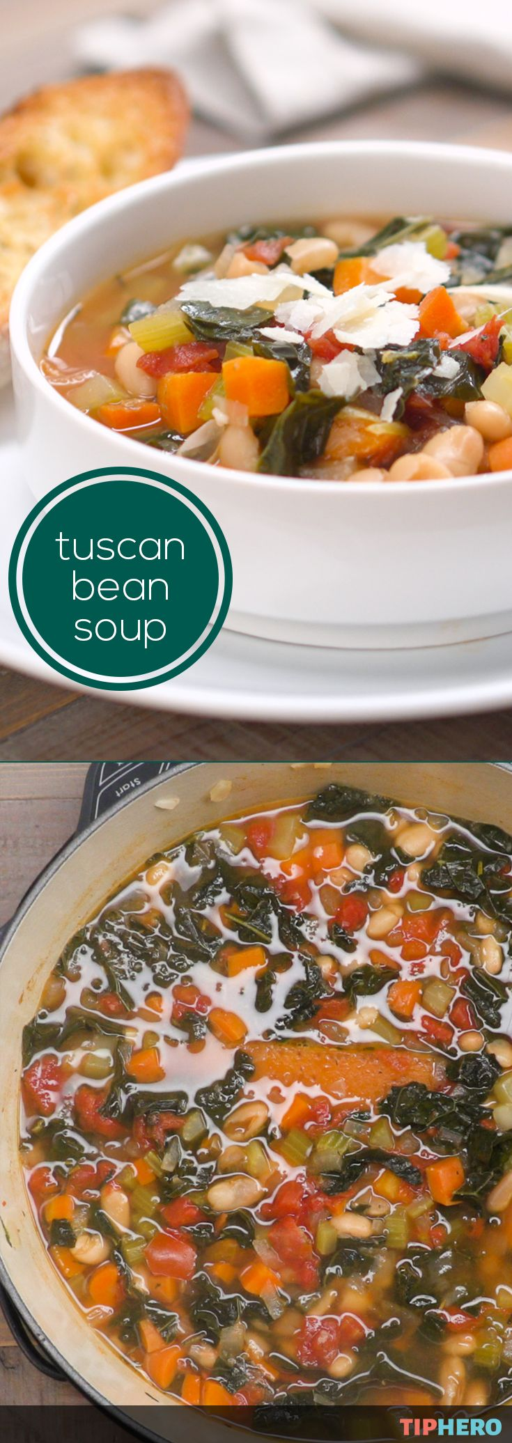 Our tuscan white bean and kale soup is a hearty, healthy, soup that will fill you up and warm you up! And better yet it only takes about 40 minutes to make so you'll be enjoying this delicious vegetarian soup -  in no time. The soup is loaded with beans, kale, carrots, onion, celery and tomatoes, so simply add parmesan and bread and serve for lunch or dinner. Also good for making in big batches and freezing for later. Click for the recipe and video.