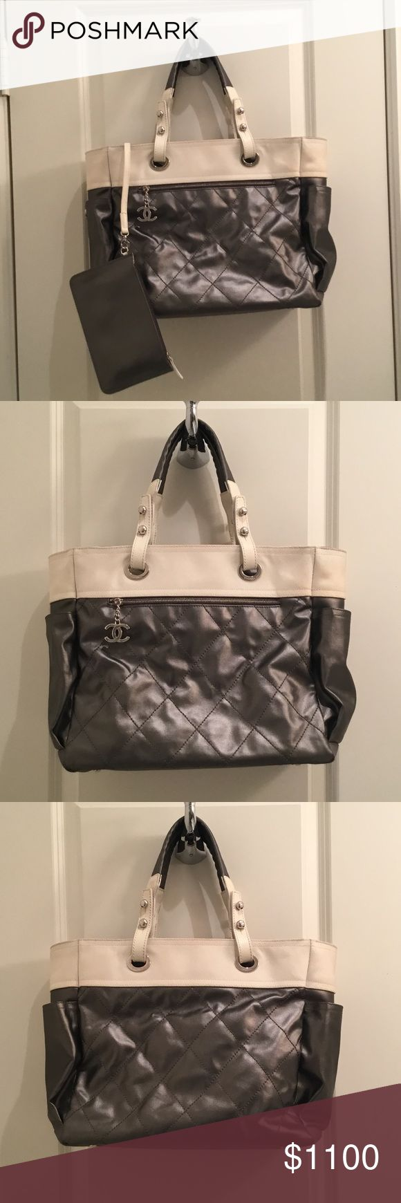 CHANEL Tote CHANEL Biarritz Silver Tote Bag. In excellent used condition. Comes with authenticity card, and dust bag. Great bag! CHANEL Bags