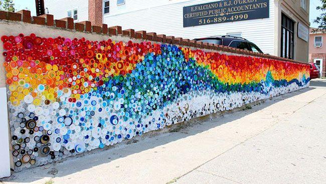 plastic bottle lids - recycling-art-wall